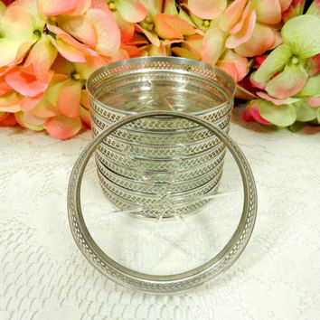 9 Beautiful Vintage Sterling Silver Cut Glass Crystal Coasters