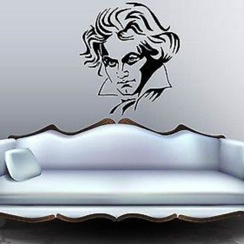 Wall Stickers Vinyl Decal Beethoven Composer Classic Music Symphony  Unique Gift EM347