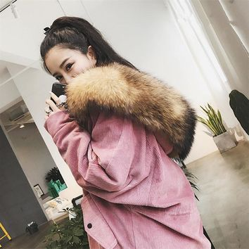 2017 Winter Thick Hooded Corduroy High Quality Warm Real Fur Parka Cotton Padded Vintage Women Jacket Coat Snow Parka TT3213