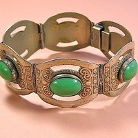 Vintage Mexican Alpaca Silver & Green Stone Panel Bracelet, Eagle Head Stamp
