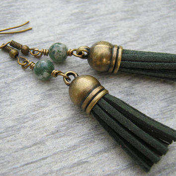 Moss Agate Tassel Earrings, Green Gemstone Earrings, Forest Faux Leather Tassel Earrings, Boho Vegan Dangle Earrings, Antiqued BRONZE, TE5