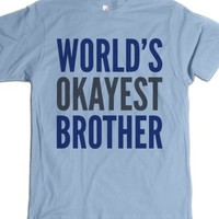 World's Okayest Brother T-shirt Blue