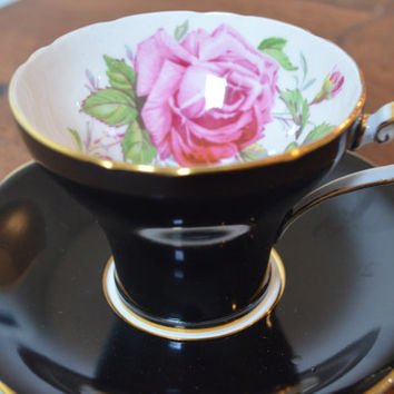 Aynsley Black 'Pink Cabbage Rose' England Teacup and Saucer Hand numbered  957 -2