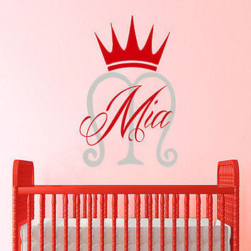 Girl Name Wall Decals Crown Decal Monogram Baby Nursery Home Decor DS384