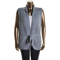 Extra Touch Womens Plus Ribbed Knit Shawl Collar Sweater Vest
