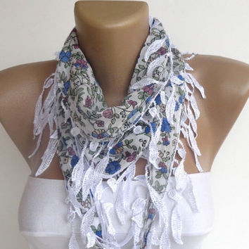 floral cotton leaf scarf , leaf lace scarf,spring summer scarf , women accessories