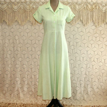 90s Light Green Dress Seersucker Pinstripe Spring Summer Button Up Cotton Short Sleeve Dress Petite Small Vintage Clothing Womens Clothing