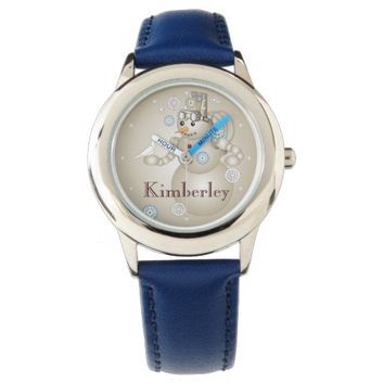 Peace - White Dove and Steam-punk Snowman Kids Wristwatches