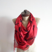 SCARF // Red scarf, Pirate skull Scarf, Infinity Loop Scarf,  Prite skull,  Wide Scarf, Textile scarf, Timeless, cotton scarf, Neckwarmer