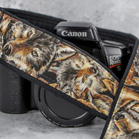 dSLR Camera Strap, Wolf, Wolves, Canon Nikon Camera Strap, Mens Camera Strap, Pocket, SLR, 218