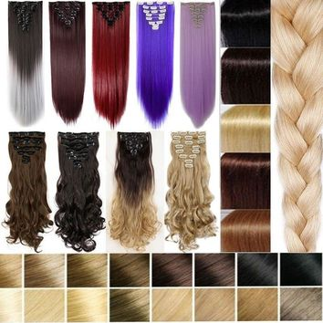 30Colors 8pcs Full Head Clip in Hair Extensions Long Straight Curly Wavy Hair piece Black Brown Blonde Gray Red