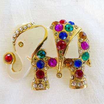 Vintage Elephant Brooch, Mughal Elephant Pin, Jeweled Enamel Elephant, Tusk Up, Elephant Jewelry