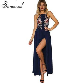 Floral Embroidered Halter Neck Maxi Dress Featuring Criss-Cross Open Back