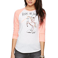 Riot Society Ride Or Die Raglan T-Shirt - Womens Tee - Blue - Extra Small