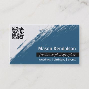 Blue QR CODE Photographer Business Card