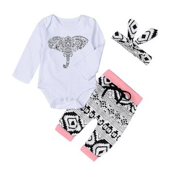 Baby Girl Elephant Print Bodysuit, Headband  & Pant Set