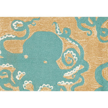 Trans Ocean Import FTP34143204 Frontporch Octopus Aqua Rectangular: 2 Ft. 6 In. x 4 Ft. Indoor/Outdoor Rug - (In Rectangular)