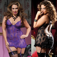 3XL Women Nightwear Lace Floral Backless Sexy Lingerie,Stockings Sexy, Dress,G-string Costumes Plus Size Babydolls = 1931836548