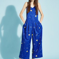Wide Leg Jumpsuit Blue Rocket Print