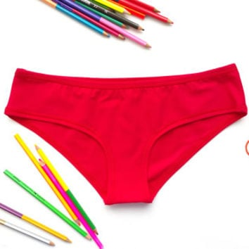 Red panties red knickers red underwear red boyshort