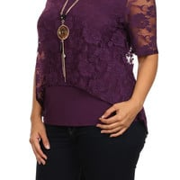 Slitted Lace Bodice Top - PURPLE - PLUS SIZE - 1X - 2X - 3X