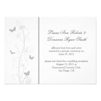Pale Gray Butterflies Ornate Swirls Post Wedding Card