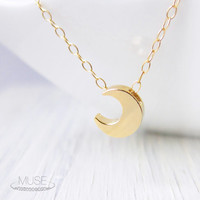 Crescent Moon Necklace - Adjustable Necklace, Vermeil Pendant Necklace, Dainty Gold Necklace, Tiny Moon Charm, Lunar Necklace, Celestial