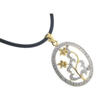 """Sterling Silver Gold Plated Cubic Zirconia Encrusted Oval Flower Designer Pendant, 15"""" rubber chain"""