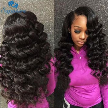 Sapphire Hair Loose Deep Wave Human Hair Bundles With Lace Closure 3 Bundles Malaysian Loose Wave Curly Bundles With Closure