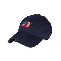 American Flag Needlepoint Hat (Navy) | Smathers & Branson
