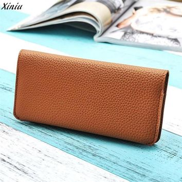 2017 European and American style solid color women wallet Pu Leather Female Purse wallet female famous brand card holder#25