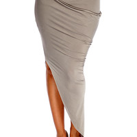 Taupe Draped Asymmetrical Skirt