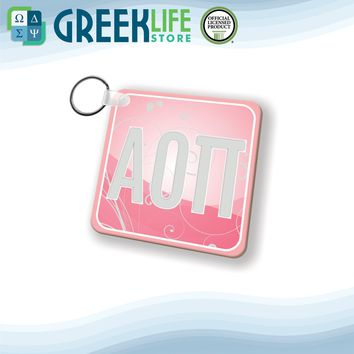 Alpha Omicron Pi Natural Wood Key Chain