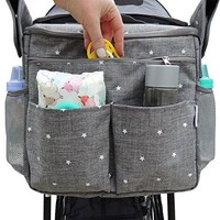 Parents Organizer Bag - Fits All Baby Strollers. Travel Bag W/ Removable Shoulder Strap for Carrying Bottles, Diapers, Toys & Snacks. Insulated Cooling Construction W/ Cup...