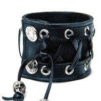 Leather Corset Bracelet Black