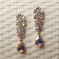 Iridescent Faux Crystal Dangle Earrings