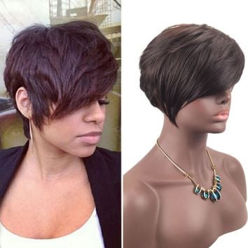 Fashion style Women Short Brown Black Front Curly Hairstyle Synthetic Hair Wigs For Brown Styling Accessory# 09