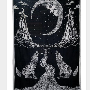 colorful abstract moon wolf forest painting pattern  Maya style rectangle wall hanger Tapestry Beach Towel