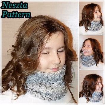 Crochet pattern, Crochet infinity scarf pattern, Cream scarf, Cowl scarf pattern, Easy Crochet Pattern, Child scarf pattern, Woman scarf