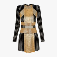 Balmain - Beaded cotton-velvet mini dress - Women's dresses
