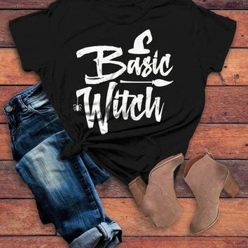 Women's Basic Witch T Shirt Funny Halloween Shirts Broom Hat Witches Graphic Tee