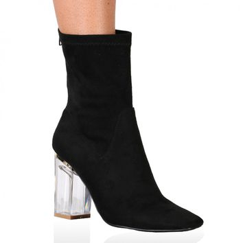 Chloe Perspex Heeled Ankle Boots in Black Faux Suede