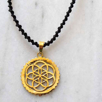 Flower Of Life Pendant - seed of life pendant, Energy Jewelry - Brass Jewelry - Tribal Jewelry - Geometric Jewelry - Decorated Jewelry