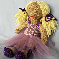 10 inch Crochet Ballerina Doll ( girl, blonde, blue, purple, dress, shoes)