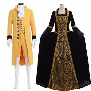 Marie Antoinette Mens Suit Womens Rococo Baroque Gown Dress Couples Wedding Set