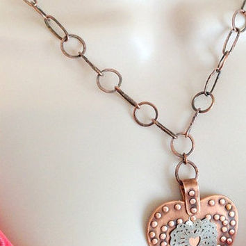 Handcrafted Copper Riveted Heart Necklace set, Gift for Her, Heart Jewelry, Unique Jewelry, Industrial Jewelry, Steampunk  Jewelry