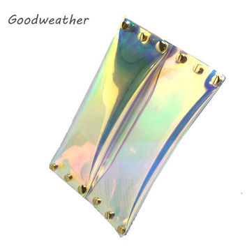 Fashion transparent laser PVC envelope clutch designer ladies summer beach waterproof holographic jelly rivet bag for party