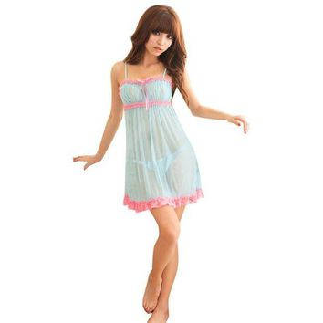 LMFCI7 Sexy Deep V Nightdress Nightgown Lace Lingerie Babydoll Women Sleepwear Nightwear