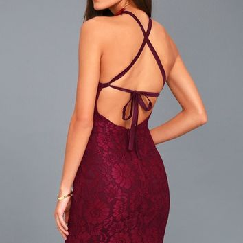 Wishful Wanderings Burgundy Lace Bodycon Midi Dress