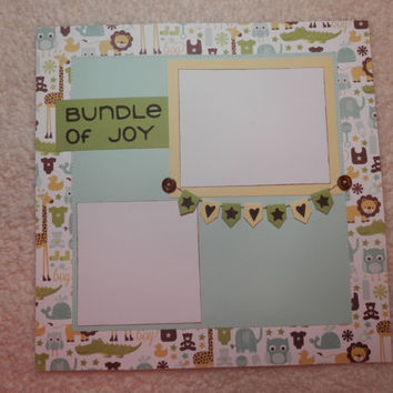 Baby Boy PreMade 12 x 12 Scrapbook Layout